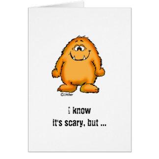 Cute whimsical orange Monster by Send2smiles Card