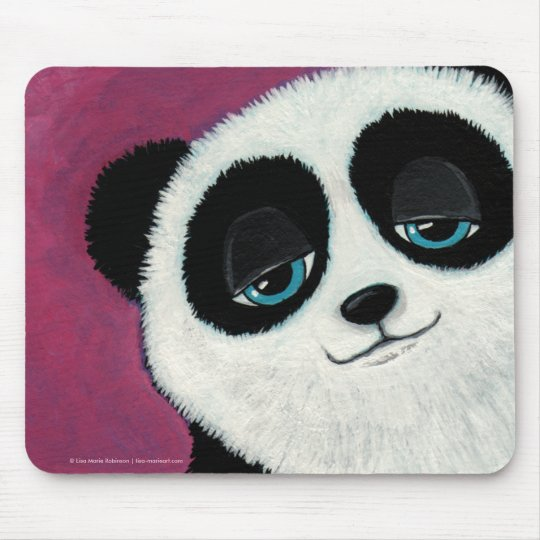 Cute Whimsical Panda Bear with Blue Eyes Mousepad