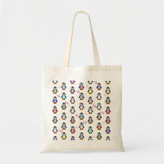 Cute Whimsical Penguins Floral Geometric Pattern Budget Tote Bag
