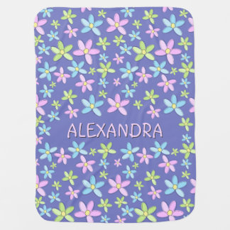 Cute Whimsical Personalized Pastel Flowers Baby Blanket