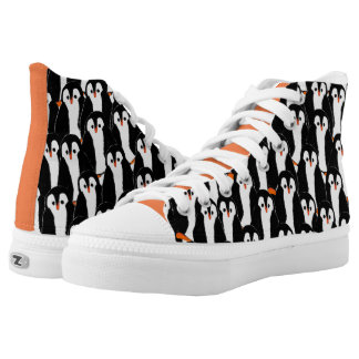 Cute Whimsical Piles of Penguins Printed Shoes