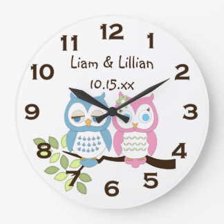 Cute Whimsical Pink Blue Owl Twins Wall Clock