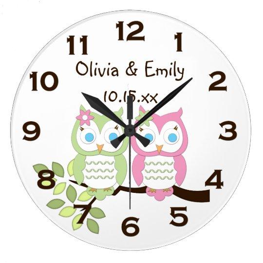 Cute Whimsical Pink Green Owl Twins Wall Clock