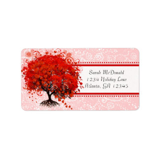 Cute Whimsical Swirl Heart Tree Red Pink Dots Address Label