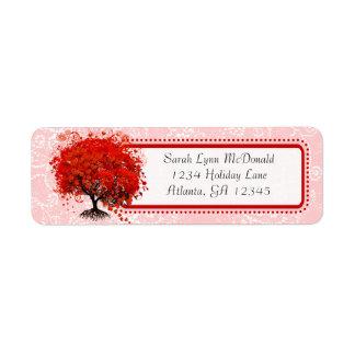 Cute Whimsical Swirl Heart Tree Red Pink Dots Return Address Label
