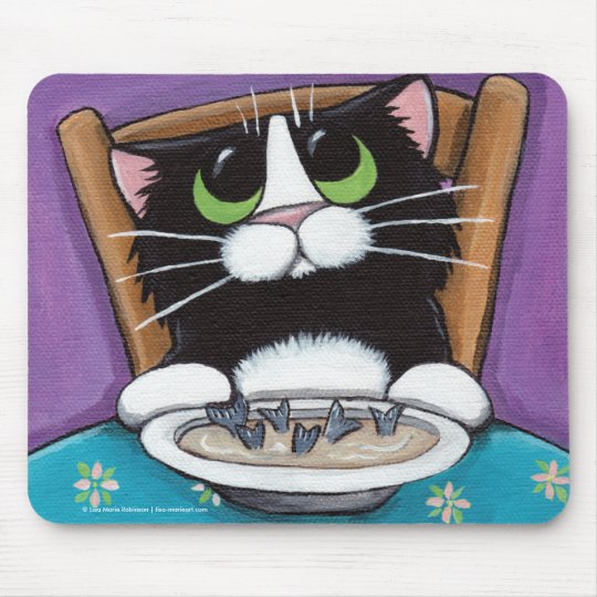 Cute Whimsical Tuxedo Cat Eating Fish Tail Soup