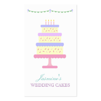 Cute Whimsical Wedding Cake Businesscards Bakery Pack Of Standard Business Cards