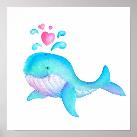 Cute whimsical whale heart spurt kids nursery art