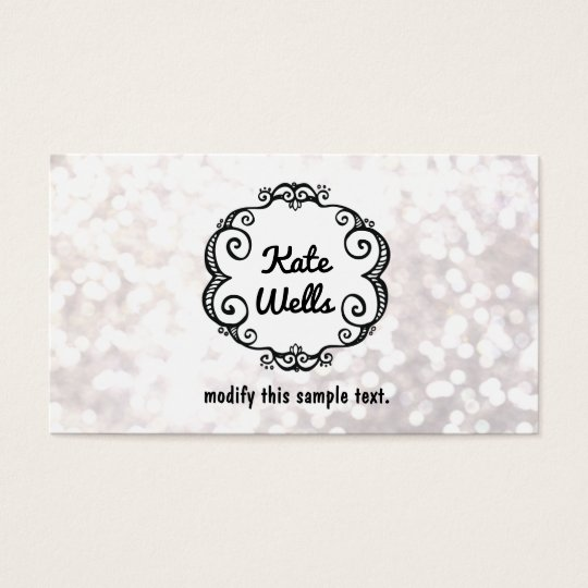 Cute Whimsical White Glitter Bokeh Business Card