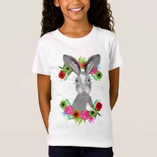 Cute Whimsical Woodland Animal In A Floral Wreath T-Shirt