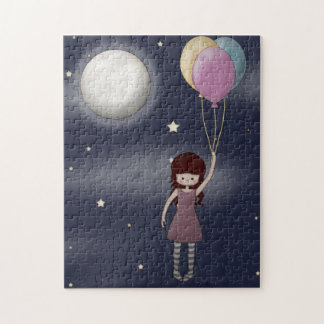 Cute Whimsical Young Girl with Balloons Jigsaw Puzzle
