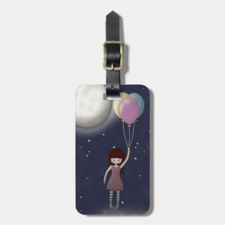 Cute Whimsical Young Girl with Balloons Luggage Tag