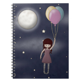 Cute Whimsical Young Girl with Balloons Notebook