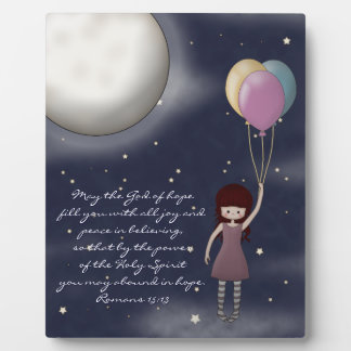 Cute Whimsical Young Girl with Balloons Plaque