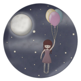 Cute Whimsical Young Girl with Balloons Plate