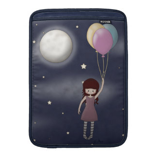 Cute Whimsical Young Girl with Balloons Sleeve For MacBook Air