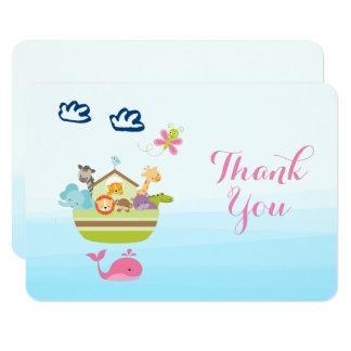 Cute Whimsical Zoo Animal Ark Baby Shower Thanks 9 Cm X 13 Cm Invitation Card