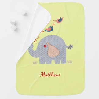 Cute Whimsy Alphabet Elephant Personalized Baby Blanket
