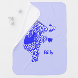 Cute Whimsy Blue Patterned Elephant Personalized Baby Blanket