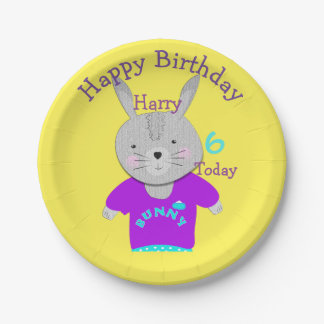 Cute Whimsy Bunny Rabbit Happy Birthday Paper Plate