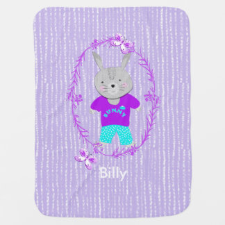 Cute Whimsy Bunny Rabbit Personalized Baby Blanket
