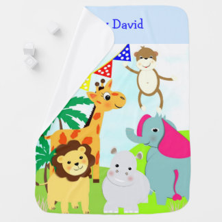 Cute Whimsy Cartoon Animals Personalized Baby Blanket