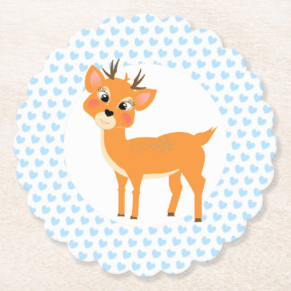Cute Whimsy Deer On Blue Love Hearts Paper Coaster