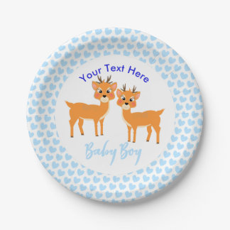 Cute Whimsy Deer On Blue Love Hearts Personalized Paper Plate