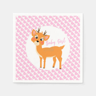 Cute Whimsy Deer On Pink Love Hearts Baby Shower Disposable Napkins