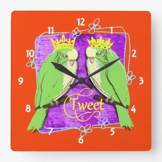 Cute Whimsy Green Budgies Tweet Fun Square Wall