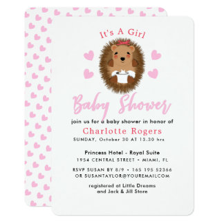 Cute Whimsy Hedgehog Pink Heart Baby Girl Shower Card