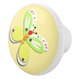 Cute Whimsy Kids Butterfly Design Ceramic Knob