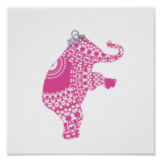 Cute Whimsy Kids Pink Princess Elephant Poster