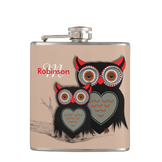 Cute Whimsy Mother Baby Owls Hip Flask