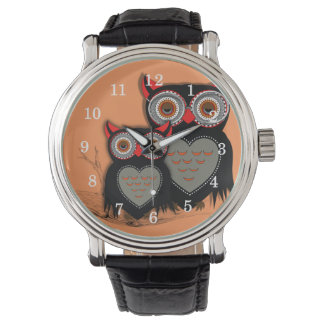 Cute Whimsy Owls Illustration Watch