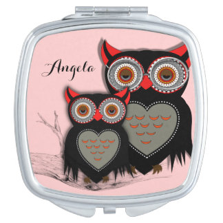 Cute Whimsy Owls Personalized Compact Mirror
