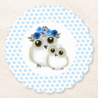 Cute Whimsy Snowy Owls On Blue Love Hearts Paper Coaster
