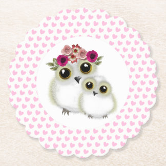 Cute Whimsy Snowy Owls On Pink Love Hearts Paper Coaster