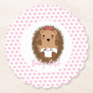 Cute Whimsy Woodland  Hedgehog Baby Girl Shower Paper Coaster