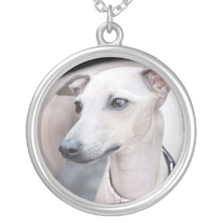 Cute Whippet Round Pendant Necklace