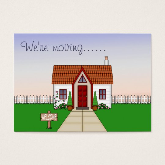 Cute, Whisical Cartoon Cottage Change of Address Business