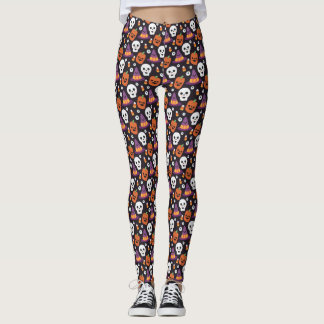 Cute Whitch, Pumpkin & Skull Halloween Pattern Leggings
