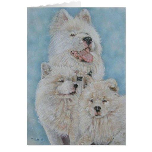 Cute white akita long coat realist portrait art greeting card