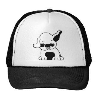 Cute White and Black Puppy Dog Cartoon w/ Big Ears Cap
