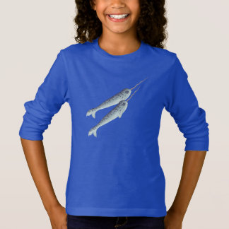 Cute White And Grey Narwhals Swimming Together T-Shirt