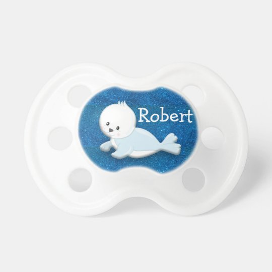 Cute White Baby Seal on Blue Glitter Personalised