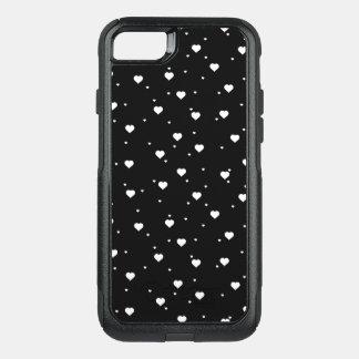 Cute White & Black Hearts Pattern OtterBox Commuter iPhone 8/7 Case