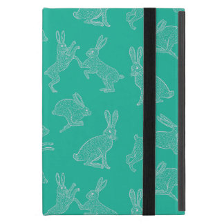Cute White Bunnies on Green Background Ipad Stand Cover For iPad Mini