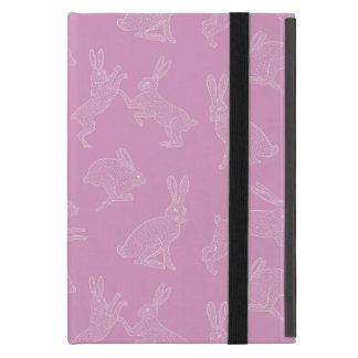 Cute White Bunnies on Pink Background Ipad Stand iPad Mini Cover
