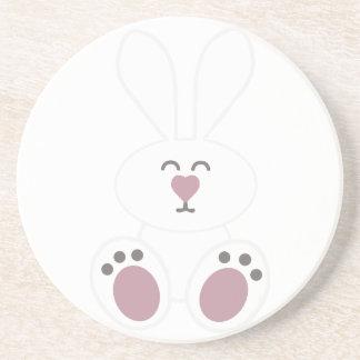 Cute White Bunny Rabbit Beverage Coasters